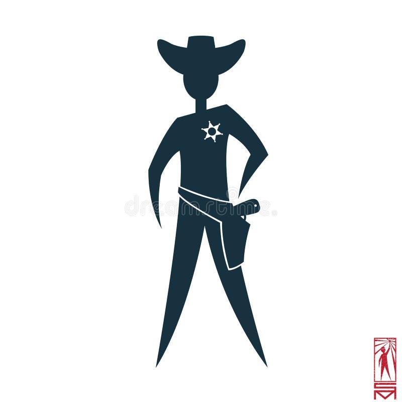 Sheriff mit einem Revolver vektor abbildung
