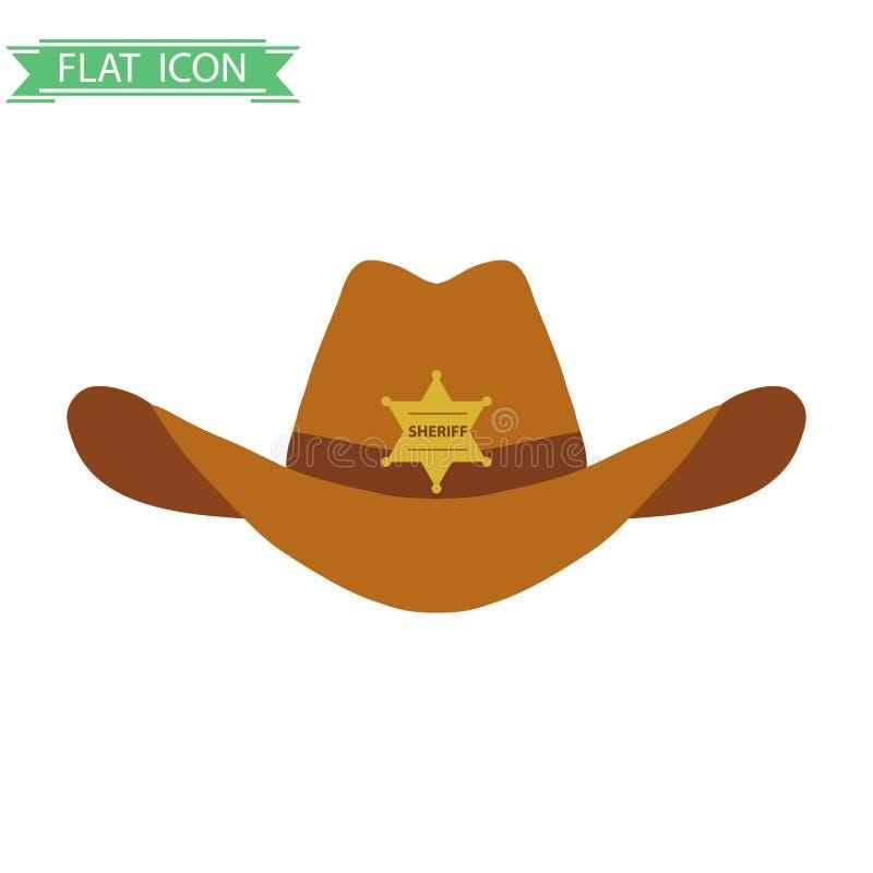 The sheriff`s hat. Flat design, illustration royalty free illustration