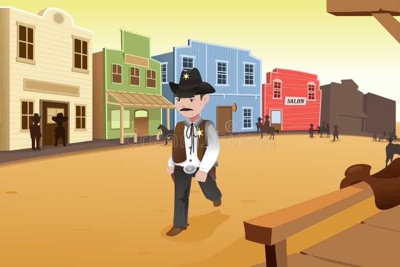 Sheriff som går på en gammal västra stad royaltyfri illustrationer