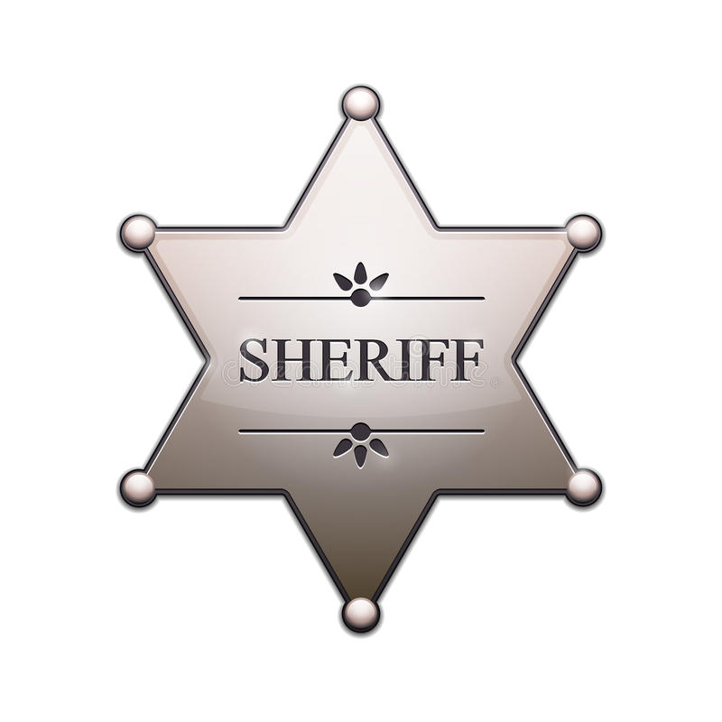 Sheriff Star. With shadow isolated on white. Vector Illustration stock illustration