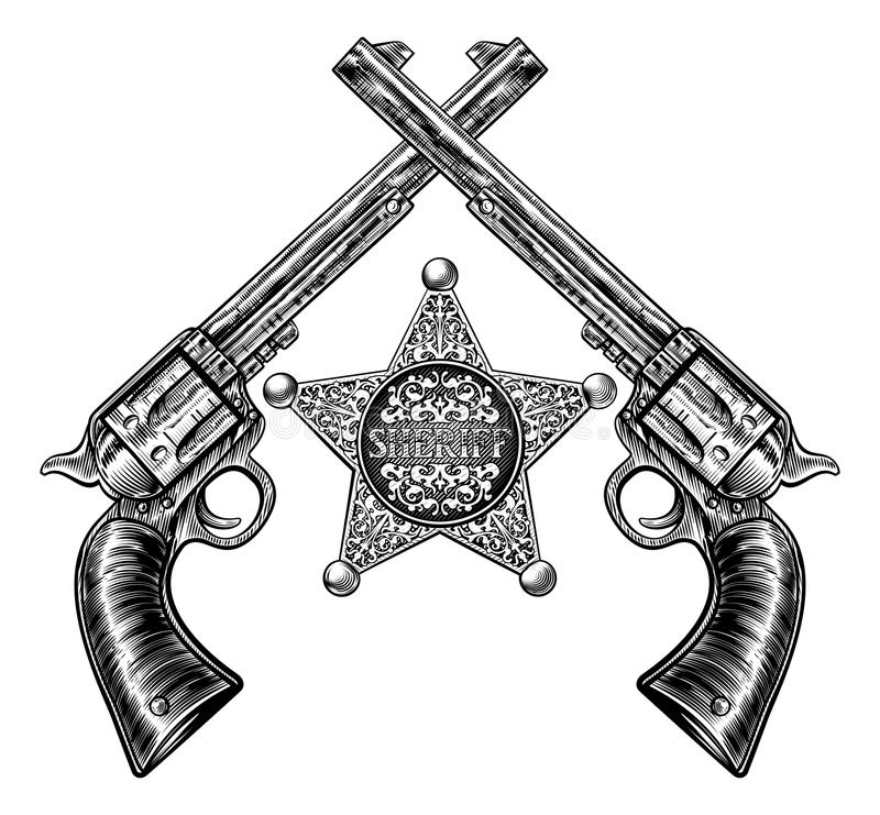 Sheriff Star Badge and Crossed Pistols. A sheriff star badge and pair of crossed revolver handgun pistols drawn in a vintage retro woodcut etched or engraved stock illustration