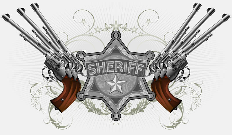 Sheriff Star With Guns Stock Vector. Illustration Of