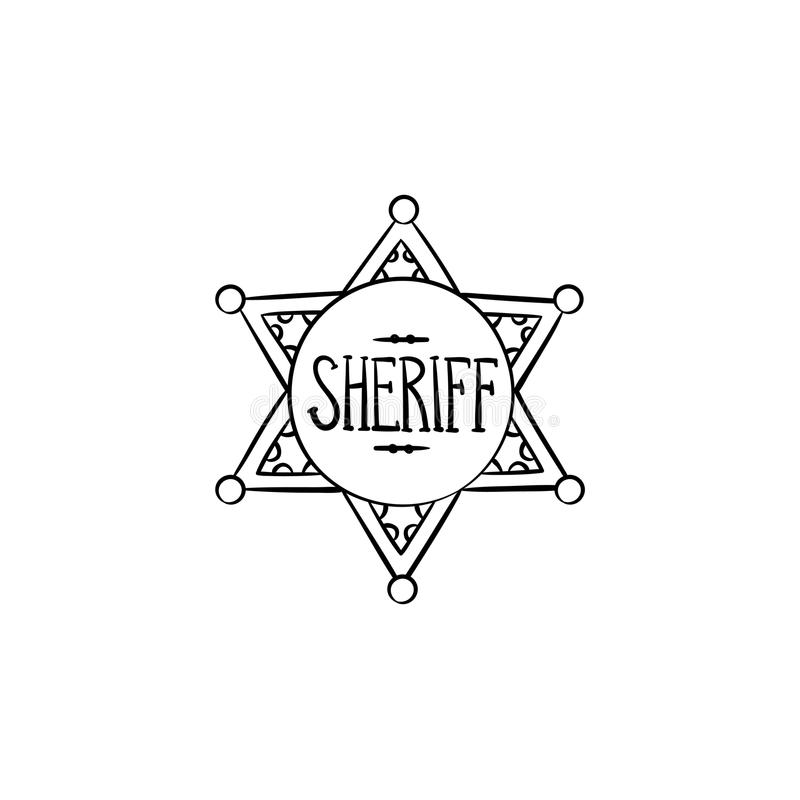 Sheriff star hand drawn outline doodle icon. Police authority, county sheriff badge, law concept. Vector sketch illustration for print, web, mobile and stock illustration