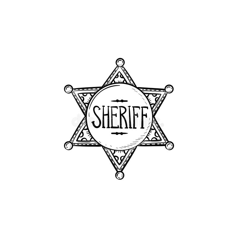Sheriff star hand drawn outline doodle icon. Police authority, county sheriff, power concept. Vector sketch illustration for print, web, mobile and stock illustration