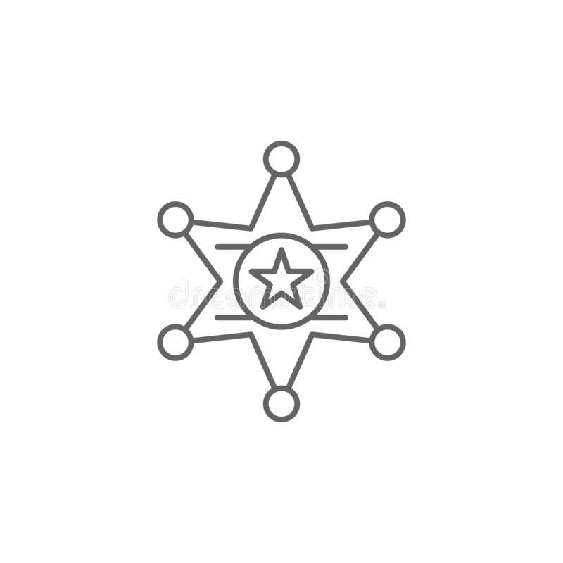 Sheriff star outline icon. Elements of independence day illustration icon. Signs and symbols can be used for web, logo, mobile app. UI, UX on white background royalty free illustration