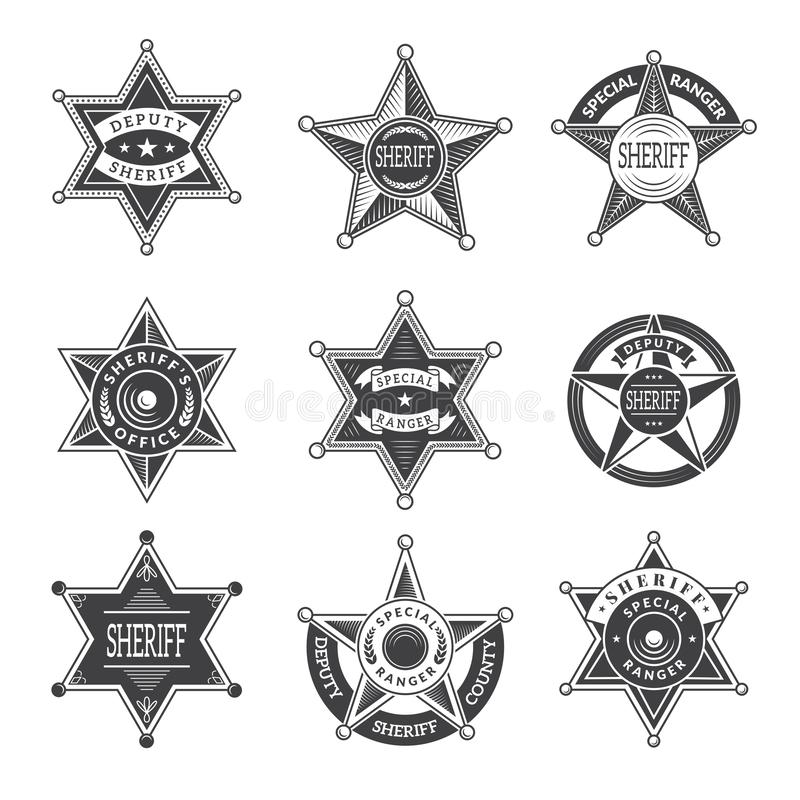 Free Sheriff Stars Badges. Western Star Texas And Rangers Shields Or Logos Vintage Vector Pictures Royalty Free Stock Photography - 125901017