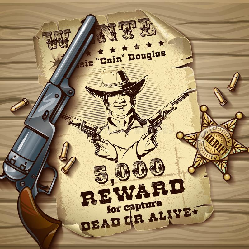 Sheriff Stars Vintage Design. With poster of wanted police badge cartridges gun on wooden background vector illustration royalty free illustration