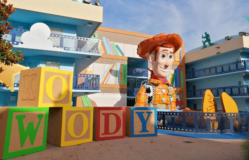 Sheriff Woody at Movie Disneys All-Star Movies Resort. Sheriff Woody from Toy Story at the Disney's All-Star Movies Resort in Walt Disney World in Florida stock photos