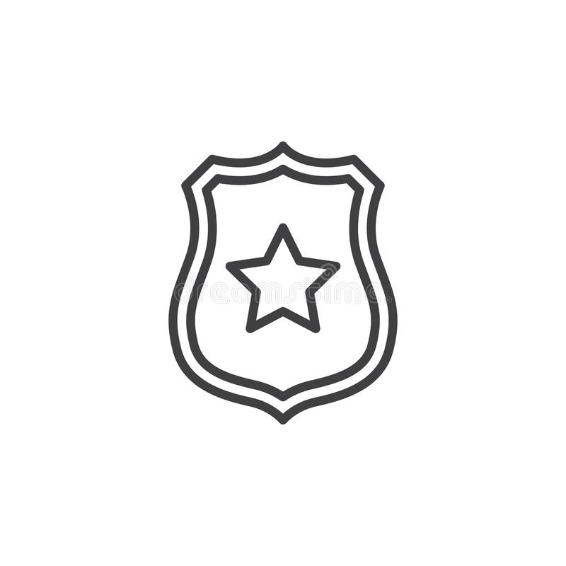 Sheriffemblem med stjärnalinjen symbol, översiktsvektortecken, linjär pictogram som isoleras på vit royaltyfri illustrationer