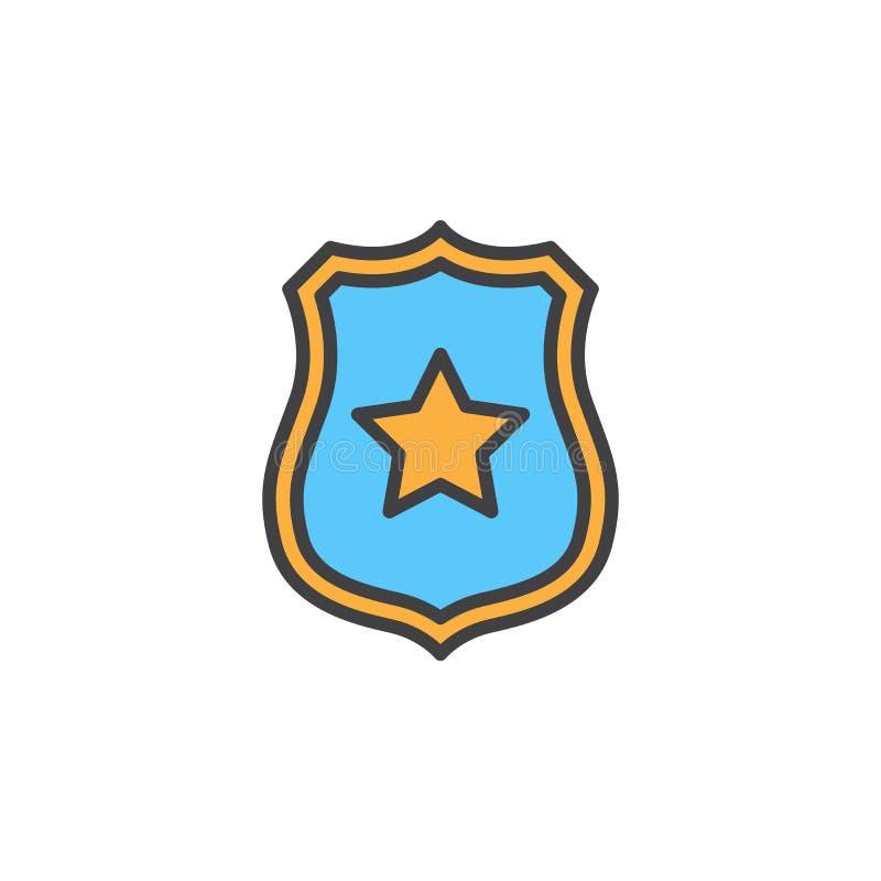 Sheriffemblem med stjärnalinjen symbol, fyllt översiktsvektortecken, linjär färgrik pictogram som isoleras på vit vektor illustrationer