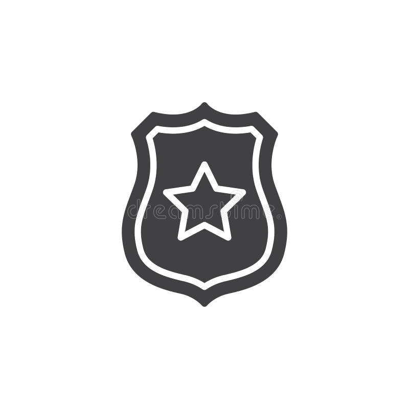Sheriffemblem med stjärnasymbolsvektorn, fyllt plant tecken, fast pictogram som isoleras på vit vektor illustrationer