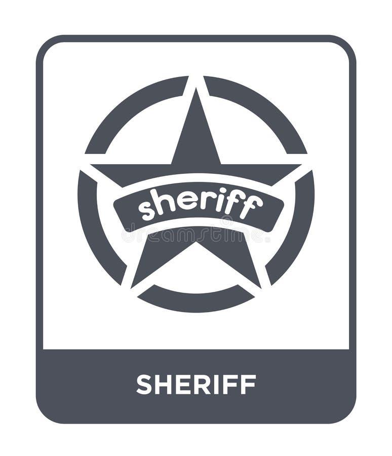 sheriffpictogram in in ontwerpstijl Sheriffpictogram op witte achtergrond wordt geïsoleerd die eenvoudige en moderne vlakke symbo vector illustratie
