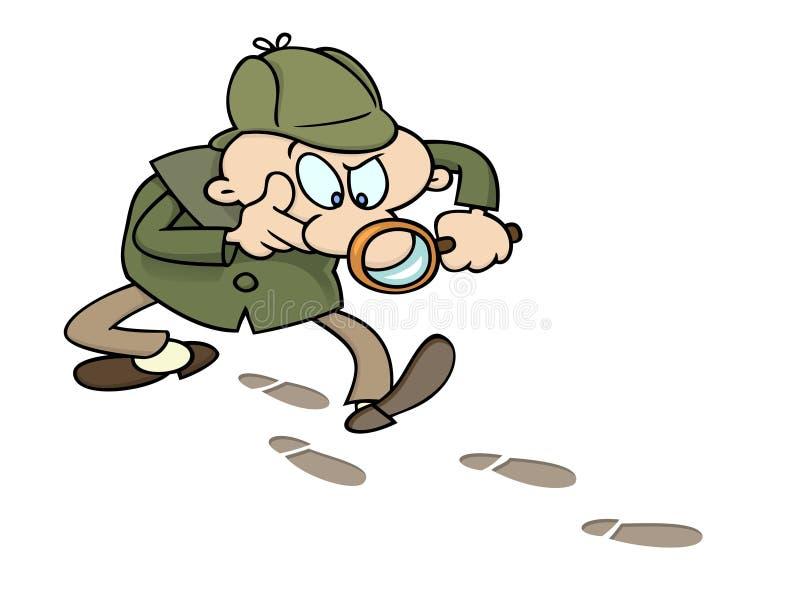 Sherlock che segue una traccia illustrazione vettoriale