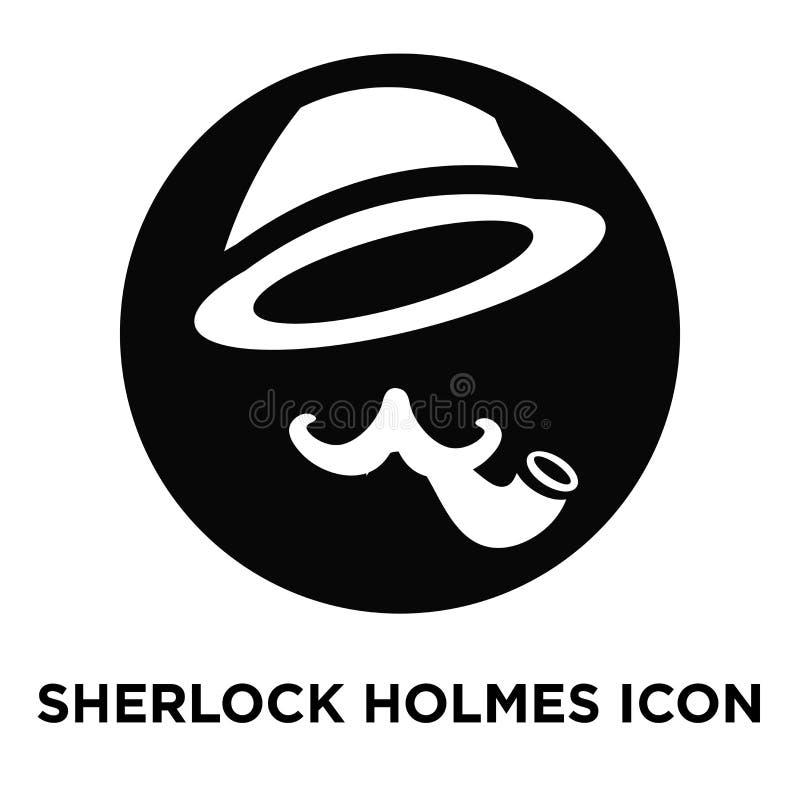 Sherlock holmes在白色背景隔绝的象传染媒介,商标c 库存例证