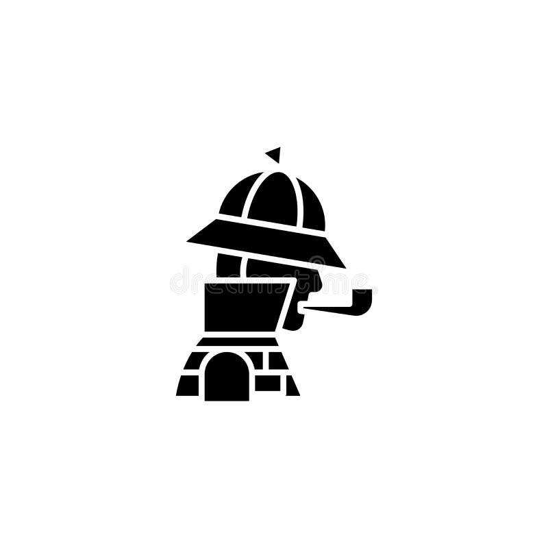 Sherlock holmes黑象概念 Sherlock holmes平的传染媒介标志,标志,例证 皇族释放例证