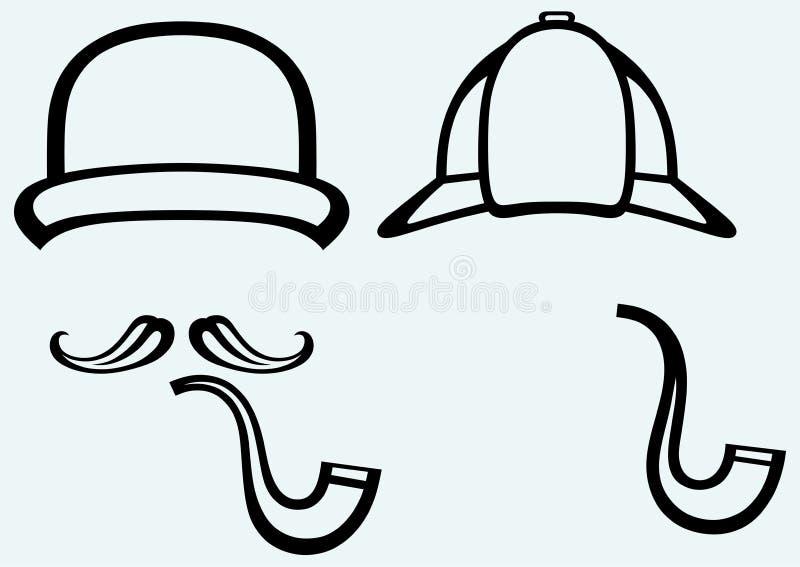 Sherlock Holmes. Ιδιωτικός αστυνομικός εικονιδίων απεικόνιση αποθεμάτων