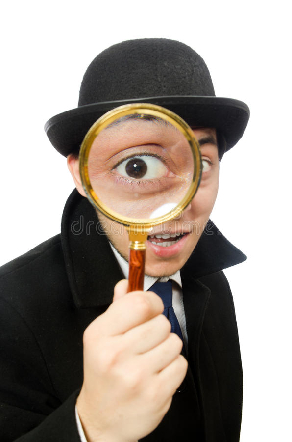 Sherlock Holmes при лупа изолированная дальше стоковые изображения