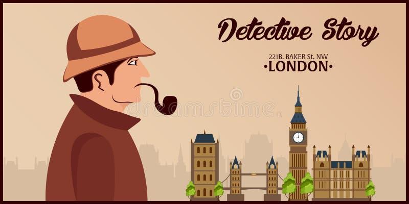 Sherlock Holmes 侦探例证 与福尔摩斯的例证 贝克街道221B 伦敦 大的禁令 库存例证