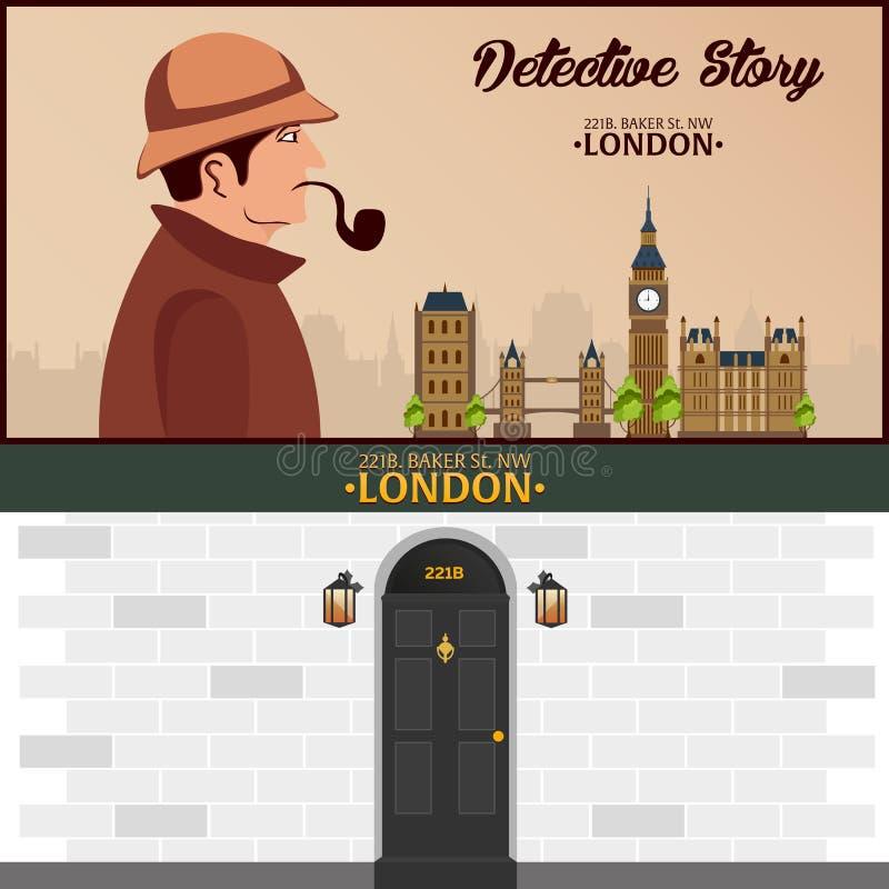 Sherlock Holmes 侦探例证 与福尔摩斯的例证 贝克街道221B 伦敦 大的禁令 向量例证