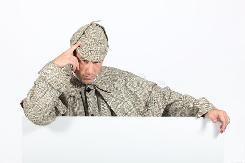 Sherlock Holmes. Man dressed as Sherlock Holmes stock photo