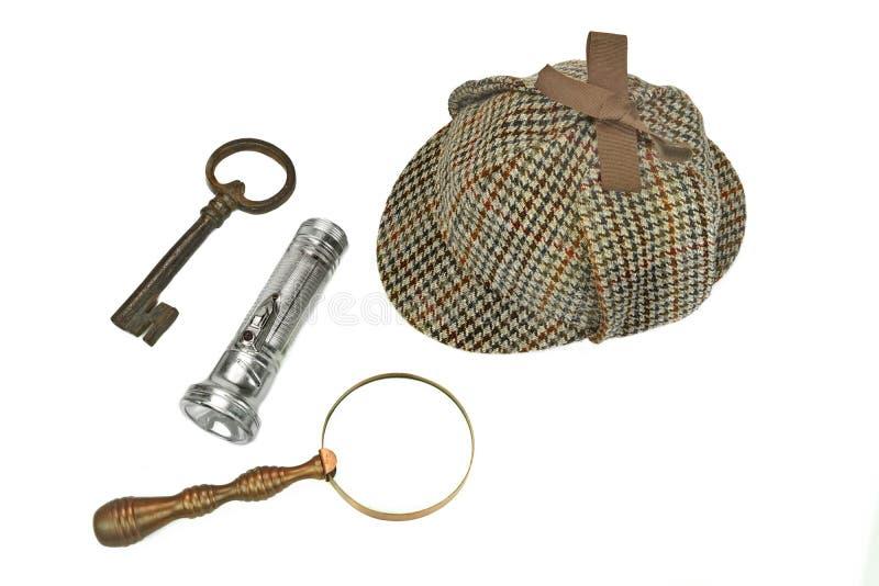 Sherlock Holmes Cap tappningförstoringsglas, Retro ficklampa arkivfoton