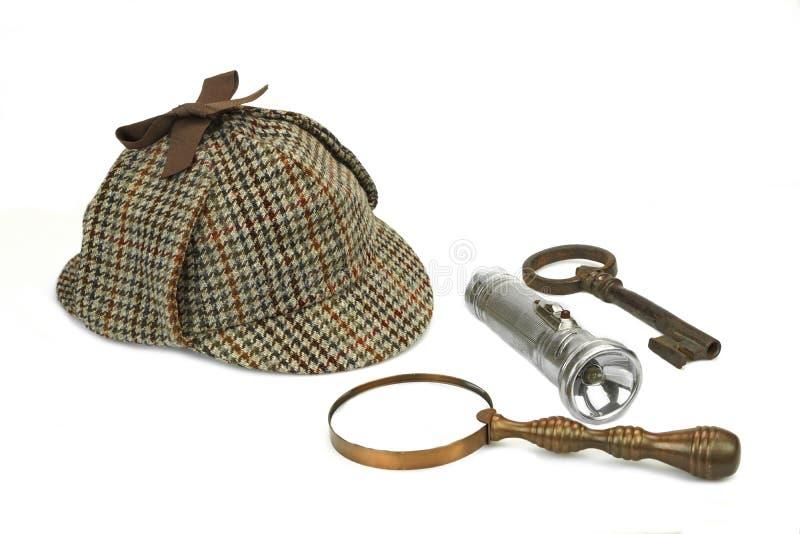 Sherlock Holmes Cap tappningförstoringsglas, Retro ficklampa royaltyfria bilder