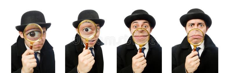 Sherlock Holmes con la lupa aislada en blanco imagen de archivo