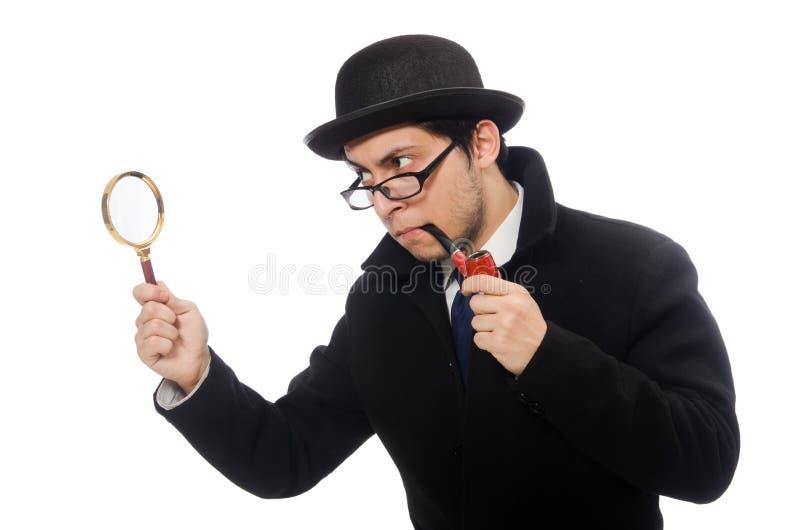 Sherlock Holmes con la lupa aislada encendido foto de archivo