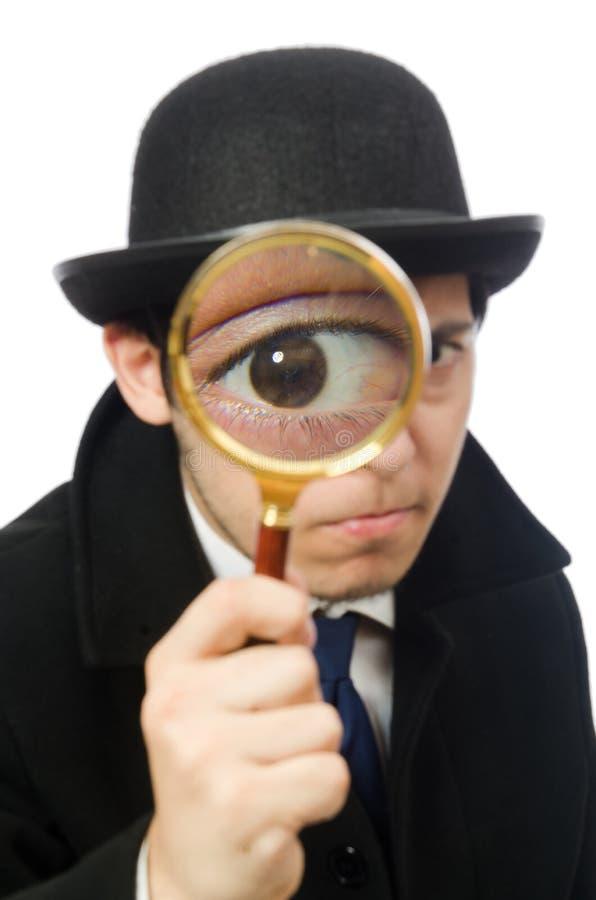 Sherlock Holmes con la lupa aislada encendido imagenes de archivo