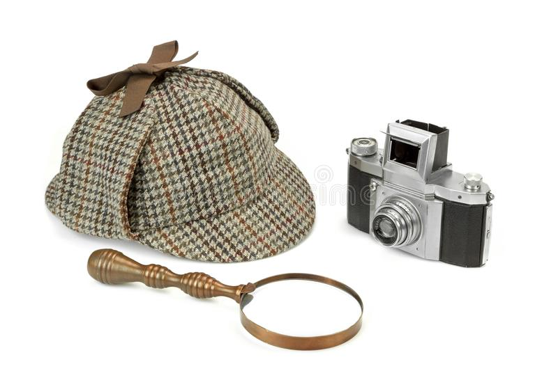 Sherlock Holmes Deerstalker Cap, Vintage Magnifying Glass And Re. Tro Camera Isolated On White Background. Investigation Concept stock photography