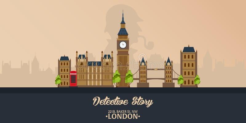 Sherlock Holmes. Detective illustration. Illustration with Sherlock Holmes. Baker street 221B. London. Big Ban. stock illustration