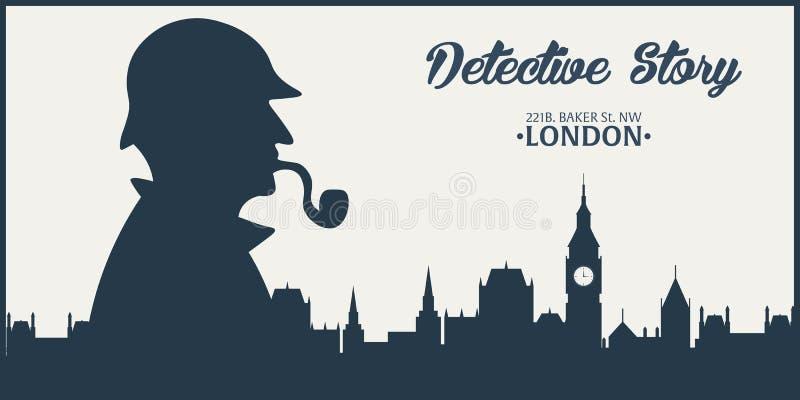 Sherlock Holmes Detectiveillustratie Illustratie met Sherlock Holmes Baker straat 221B Londen GROOT VERBOD vector illustratie