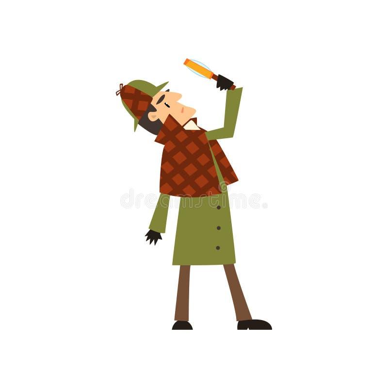 Sherlock Holmes-detectivekarakter die vergrootglas vectorillustratie bekijken op een witte achtergrond royalty-vrije illustratie