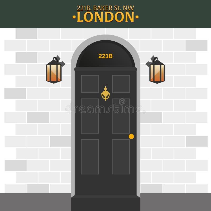 Sherlock Holmes Detektivillustration Illustration mit Sherlock Holmes Bäckerstraße 221B London GROSSES VERBOT vektor abbildung