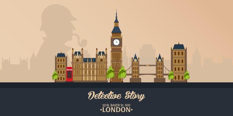 Sherlock Holmes Illustration révélatrice Illustration avec Sherlock Holmes Rue 221B de Baker Londres GRANDE INTERDICTION illustration libre de droits