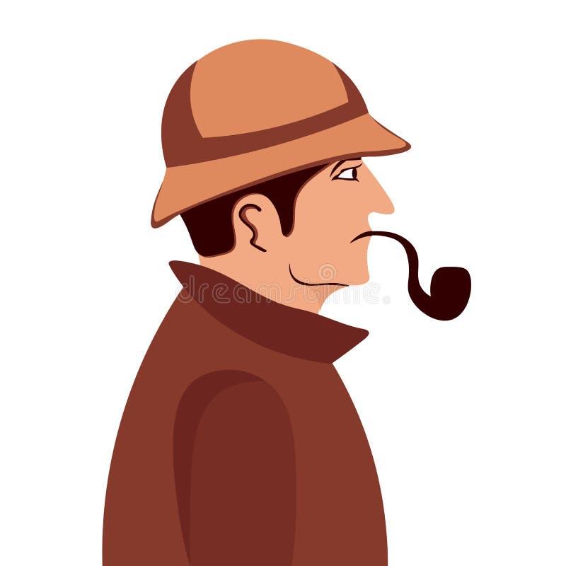 Sherlock Holmes Illustration révélatrice Illustration avec Sherlock Holmes Rue 221B de Baker Londres GRANDE INTERDICTION illustration de vecteur