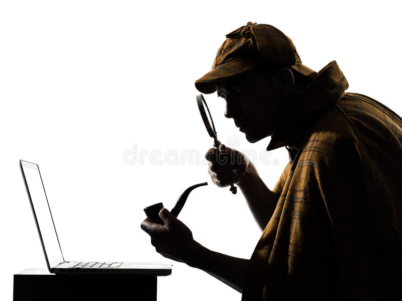 Sherlock holmes laptop computer silhouette. In studio on white background royalty free stock photography