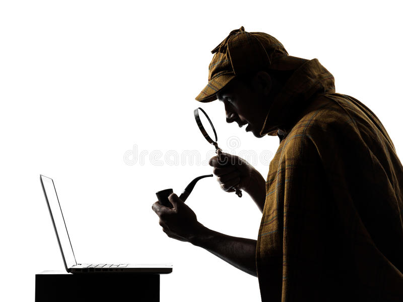 Sherlock holmes laptop computer silhouette. In studio on white background stock image