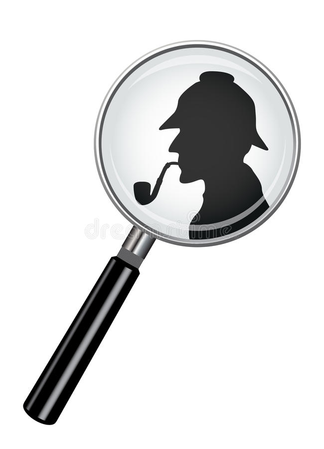 Sherlock Holmes In Magnifying Glass stock illustrationer