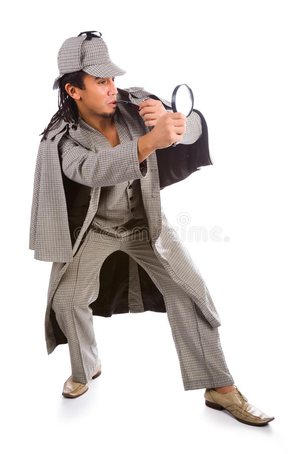 Sherlock holmes with pipe. Asian sherlock holmes with pipe and magnifying glass stock photography