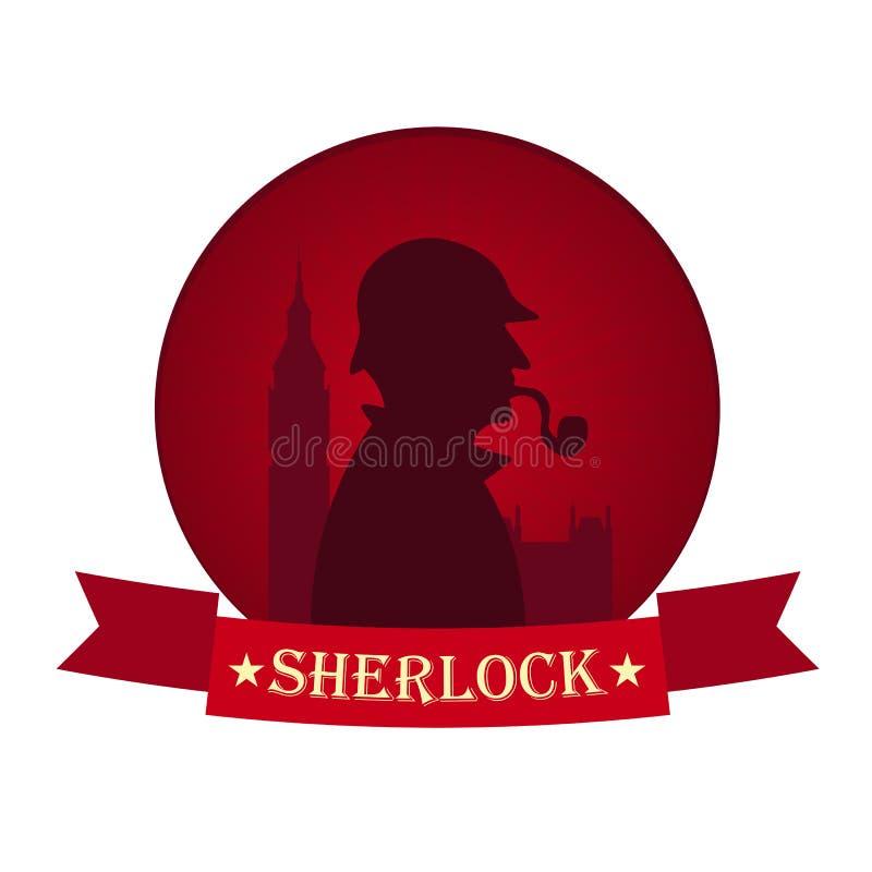 Sherlock Holmes-Plakat Detektivillustration Illustration mit Sherlock Holmes Bäckerstraße 221B London GROSSES VERBOT lizenzfreie abbildung