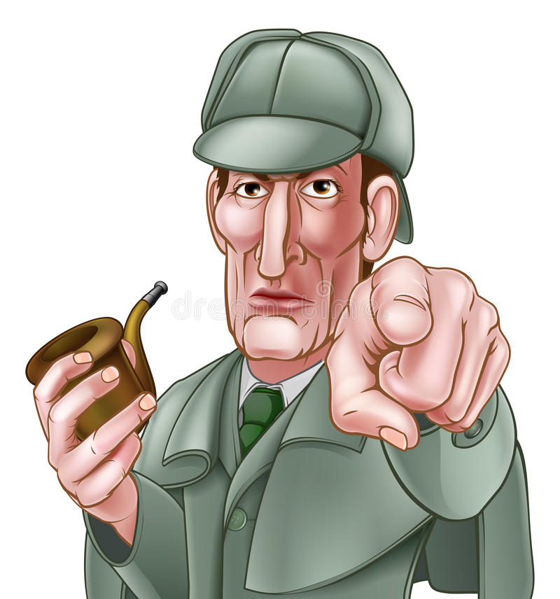 Sherlock Holmes Pointing Cartoon illustration de vecteur