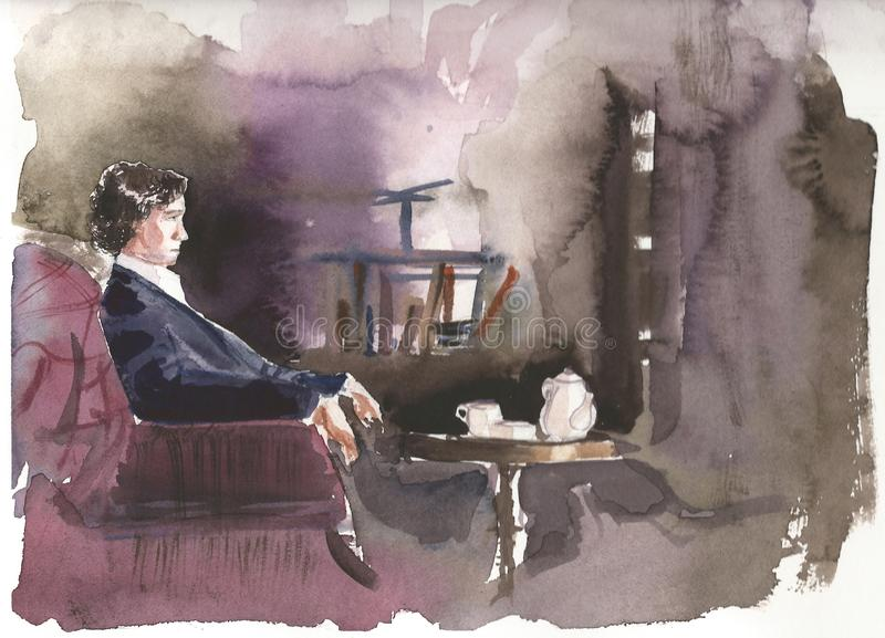 Sherlock Holmes portrait, aquarell and markers. Art work royalty free illustration