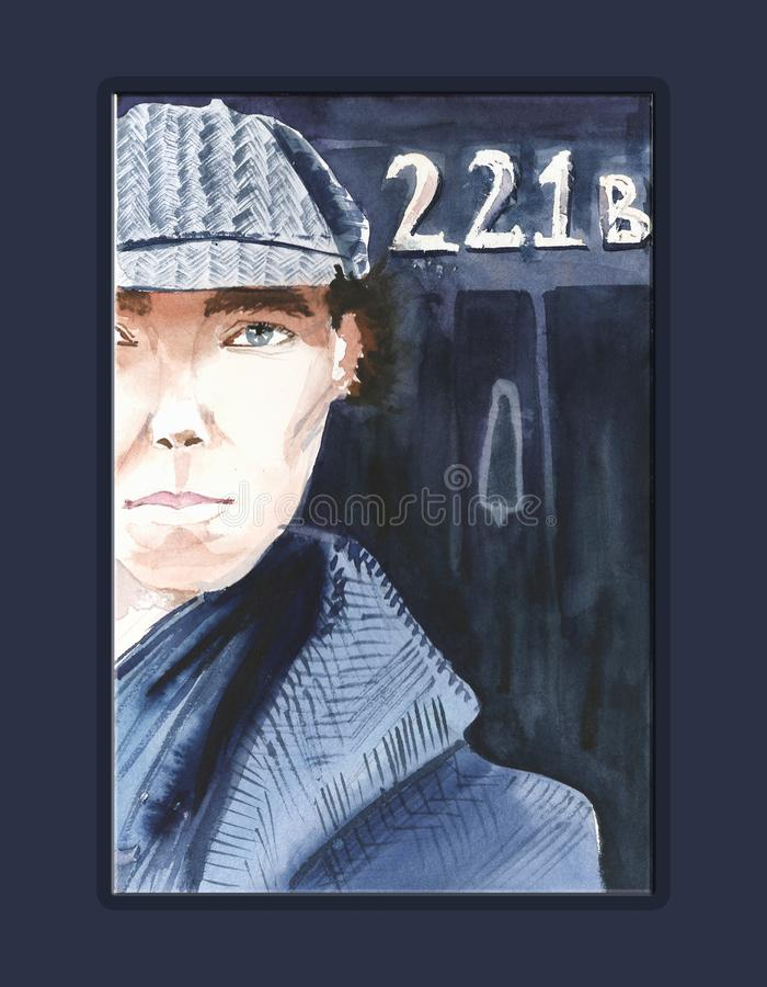 Sherlock Holmes portrait, aquarell and markers. Art work vector illustration