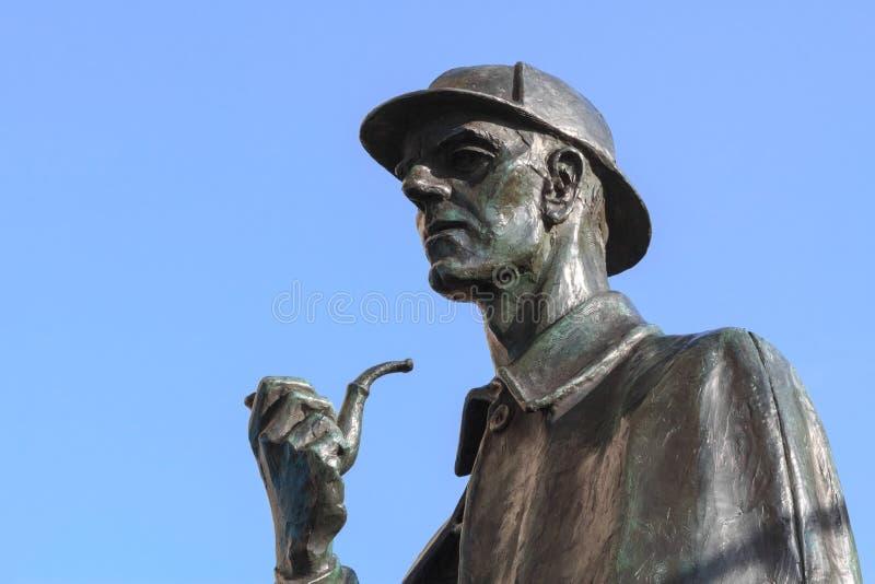 Sherlock Holmes sculpture in London. Sculpture of the famous literature detective Sherlock Holmes on Bakerstreet, London stock photos