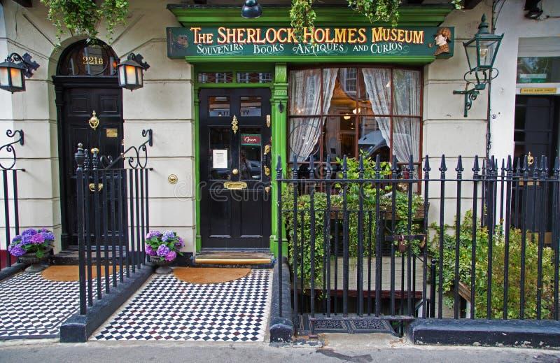 Sherlock Holmes shop in London. London, United Kingdom - May 25, 2016: The window of Sherlock Holmes shop in Baker street. The Sherlock Holmes Museum is a royalty free stock image