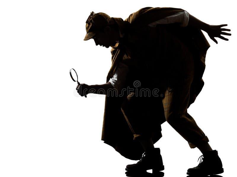 Sherlock holmes silhouette. In studio on white background royalty free stock photo