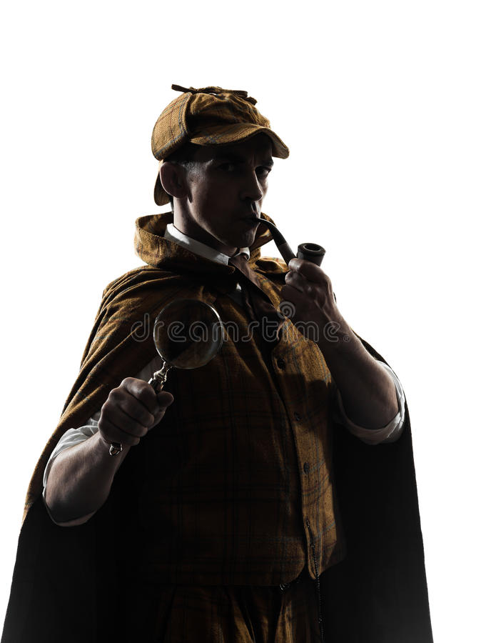 Sherlock holmes silhouette. In studio on white background stock photography