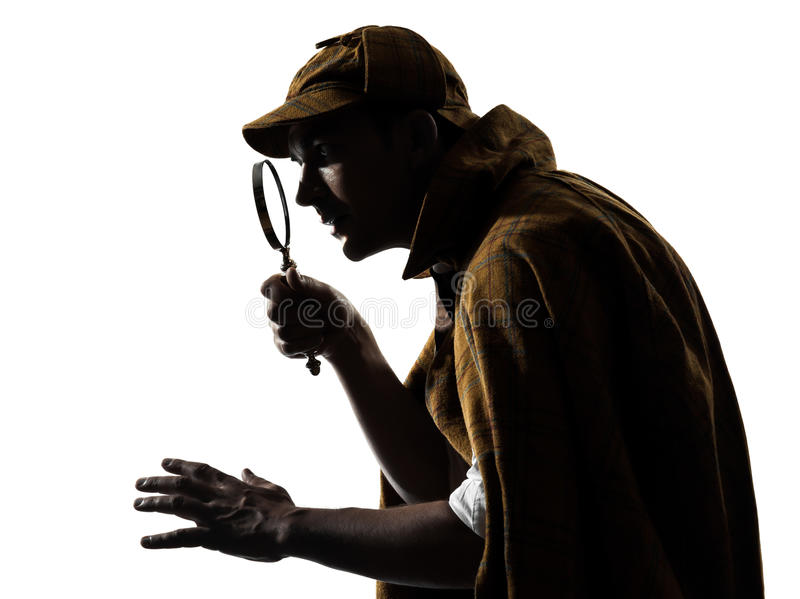Sherlock holmes silhouette. In studio on white background royalty free stock photography