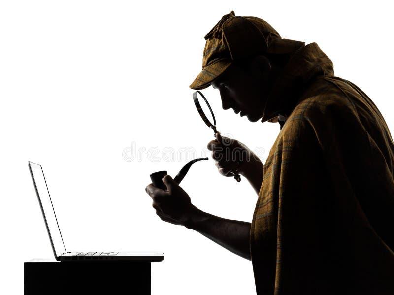 Sherlock holmes silhouette. In studio on white background stock photos